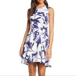 Vince Camuto Floral High/Low Fit & Flare Dress NWT